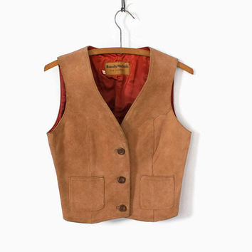 Vintage 70s Leather VEST / 1970s Golden Brown Western Cropped Leather Top