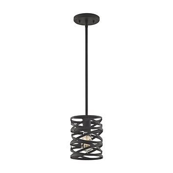 Vorticy 1-Light Mini Pendant in Oil Rubbed Bronze with Metal Cage - Includes Adapter Kit