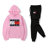 Tommy Jeans Women Men Fashion Casual Letter Pattern Print Long Sleeve Trousers Set Two-Piece Sportswear Pink/black,