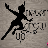 """perter pan """"never grow up"""" vinyl decal sticker, free shipping! perfect for car, macbook, ipad, DIY projects, tumblers, and so much more!"""