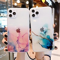 Vintage Colorful Marble Phone Case For iPhone 12 11 Pro Max