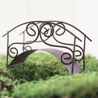 Fairy Garden Bridge - Miniature Rustic Metal Garden Path Accessory