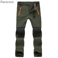 Facecozy Men Outdoor Autumn Fleece Camping Softshell Pants Male Warmth Patchwork Windproof Hiking Trousers