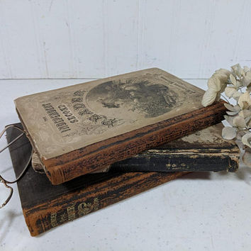 Antique School Books Collection of 3 Old Aged Worn Children's Readers & Arithmetic Book Set of Three Books for Decor or Projects Dated 1800s