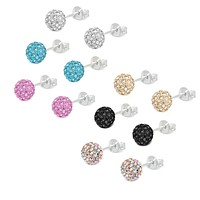 Fashion Earring Lot of 6 Pairs 8mm Assorted Color Crystal Ball Studs