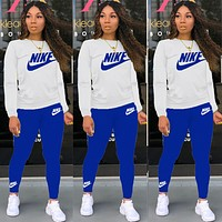 NIKE New Popular Women Casual Round Collar Top Pants Set Two-Piece