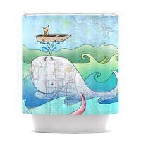 """Catherine Holcombe """"I'm on a Boat"""" Shower Curtain"""