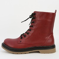 Bamboo Notch-02 Red Lace Up Combat Boots | MakeMeChic.com