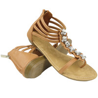 Women's T-Strap Gladiator Flat Thong Sandals With Rhinestones Tan US Size 5.5-10
