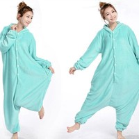 Cool Anime Animal Circus Blue Elephant Polar Coral Fleece Winter Warm Cosplay Pajamas Adult Unisex Onesuit Party Costumes Plus SizeAT_93_12