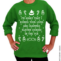Cookies Crammed VCR -  Ugly Christmas Sweater - Green Unisex Crew Neck