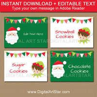 Christmas Place Cards, Santa Labels, Santa Food Labels, Santa Food Tents, PRINTABLE Candy Buffet Label Template, EDITABLE Buffet Cards C2