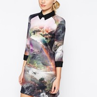 Ted Baker | Ted Baker Scuba Shirt Dress in Rainbow Waterfall Print at ASOS
