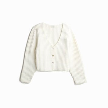 Vintage 90s Cropped White Cardigan Sweater / Button-Front Cardigan / Ribbed Cotton Sweater - women's medium