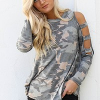Dream Girl Camo Knit Cold Shoulder Top
