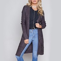 Final Sale - MINKPINK - Looped Out Longline Open Front Knit Cardigan in Charcoal