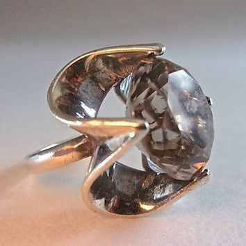 Light Smoky Quartz Sterling Silver Ring High Dome, Round Cut, High Thick Prongs, Vintage Size 7