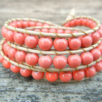 Spring Beaded Leather 3 Wrap Bracelet with Pink Coral Beads on Natural Tan Leather