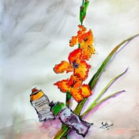 Still Life with Paint Tubes and Gladiolus Original Watercolor and Ink