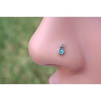 Blue Sparkly Nose Ring Nose Stud