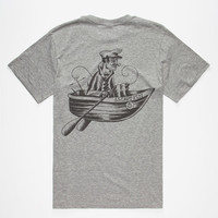 Captain Fin Salty Sailor Mens T-Shirt Heather Grey  In Sizes