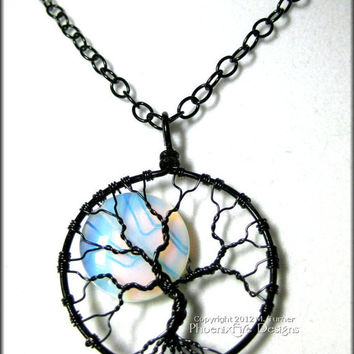 Rainbow Moonstone Full Moon Tree of Life Pendant Black Wire Wrapped Opalite (Luna Lunar Night Sky Mystical) Holiday Gift Idea for Her
