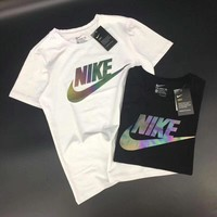 """Nike"" Unisex Sport Casual Classic Gradient Color Reflective Letter Logo Print Couple Short Sleeve T-shirt Top Tee"