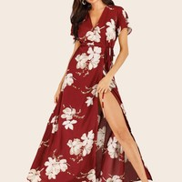 Large Floral Wrap Maxi Dress
