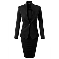 Office Work Blazer and Sleeveless Midi Dress Suit Set Made in USA (CLEARANCE)