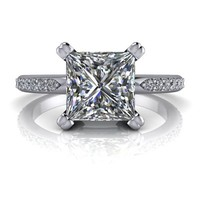 Celestial Premier Moissanite Diamond Engagement Ring - Princess Cut Ring - Customize Your Ring