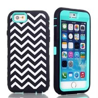 iPhone 6 Case, MOKOU 3 in 1 Pattern Hybrid High Impact Armor Defender Case Combo for iphone6 4.7Inch