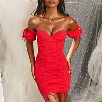 yelainse29 Explosive one-shoulder tube top short-sleeved lace-up chest cotton tight-fitting sexy dress