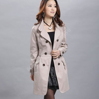 Down Collar Double Breasted Trench Coat
