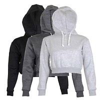 Solid Meihuida Cropped Hoodies