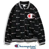 """Champion"" Autumn Winter Trending Women Men Stylish Full Print Zipper Cardigan Sweatshirt Jacket Coat Sportswear Black I13770-1"