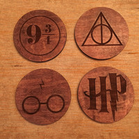 Wizardly Maple Wood Drink Coasters