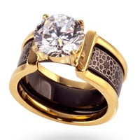 Gold & Black Engraved Ring in Ring