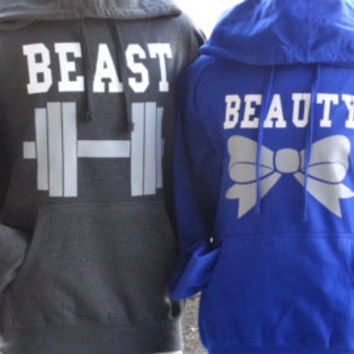 Free//Fast Shipping for US Beauty with Bow and  Beast with Dumbbell Couples Hoodies: Royal Blue(white/gray decal)