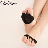 RioRiva 2 Pairs Sweat Absorb Invisible Soft Foot Care Pad Women Forefoot Nursing Pad Open Toe Socks,Women Socks Peds