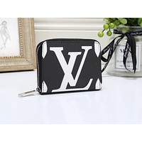 """LV"" Louis Vuitton simple print fashion versatile zipper double card wallet Black"