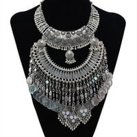 Bohemian Tibetan Statement Neckalce Silver/gold Plated Alloy Coin Tassels Necklace = 1928359300
