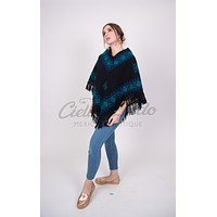 Mexican Poncho Antique Floral