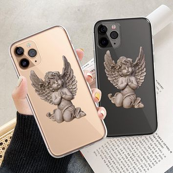 Baby Angel Statue Clear Phone Case
