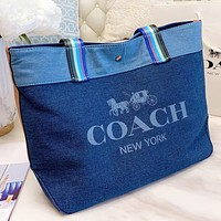 COACH New fashion letter print canvas shoulder bag crossbody bag handbag Blue