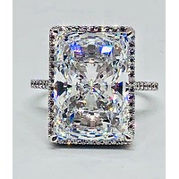 A Flawless 8.4CT Radiant Cut Pave Halo Russian Lab Diamond Engagement Ring