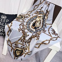 VERSACE Trending Woman Stylish Silk Cape Scarf Scarves Shawl Accessories Light Blue