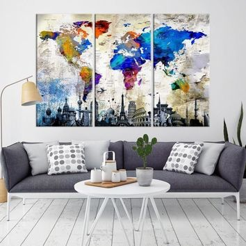95621 Large Wall Art World Map Watercolor Canvas Print World Map Poster Print