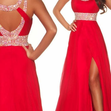 Long Red Chiffon High Slit Evening Gown Ball Prom Bridesmaid Dresses Wedding Gown Custom Made = 1955622020