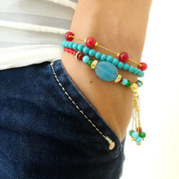 Ethnic bracelet set in turquoise red natural beads turkish istanbul jewelry gifts for women best friend birthday christmas present gold