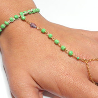 Green braided friendship bracelet ring handpiece - slave chain gold plated glass green seed beads amethyst teardrop free people inspired